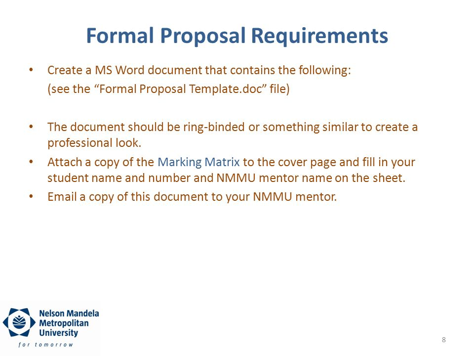 8 Formal Proposal Requirements  Formal Proposal Template