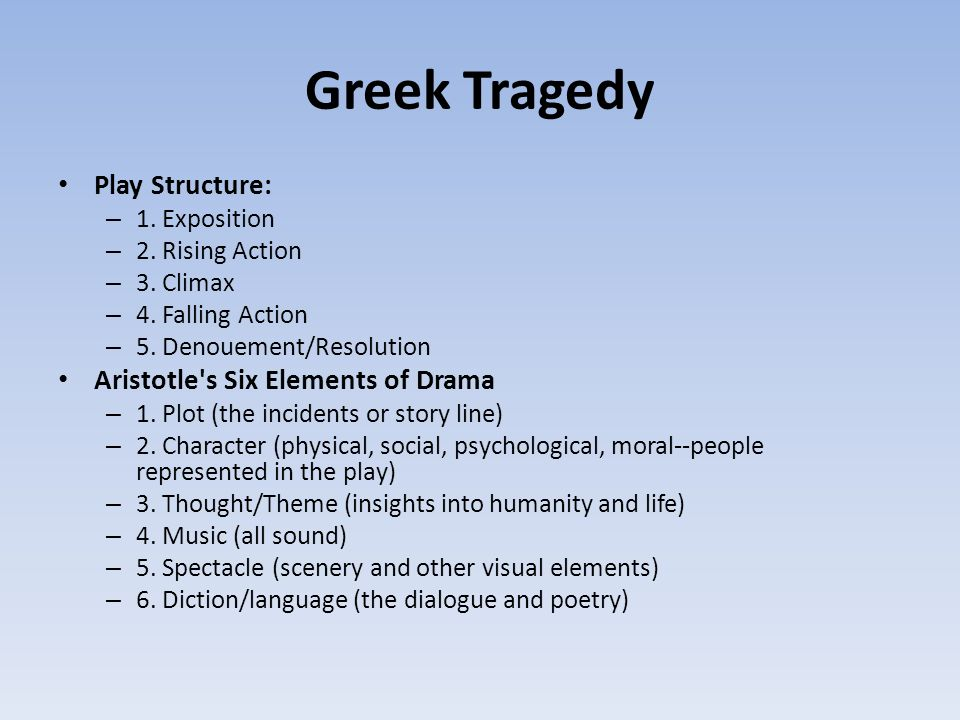 aristotle s six elements of drama in oedipus rex Need writing essay about aristotle's six elements of tragedy  aristotle's six elements of tragedy essay examples  sophocles infamous drama oedipus rex,.
