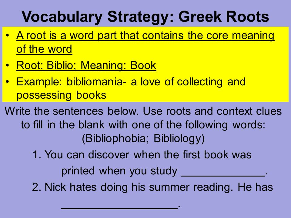 Vocabulary Strategy Greek Roots