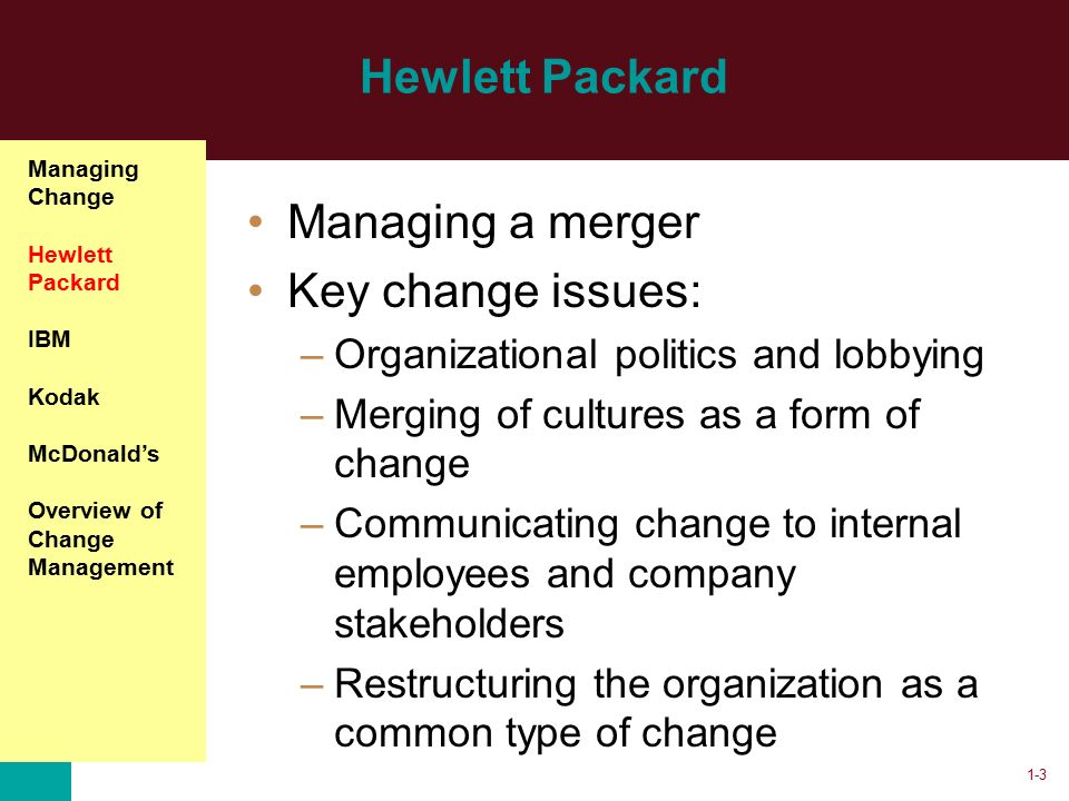 leadership and change management in the merger of hewlett packard Leadership and change management in the merger of hewlett leadership and change management in the merger of hewlett-packard published: november 4, 2015.