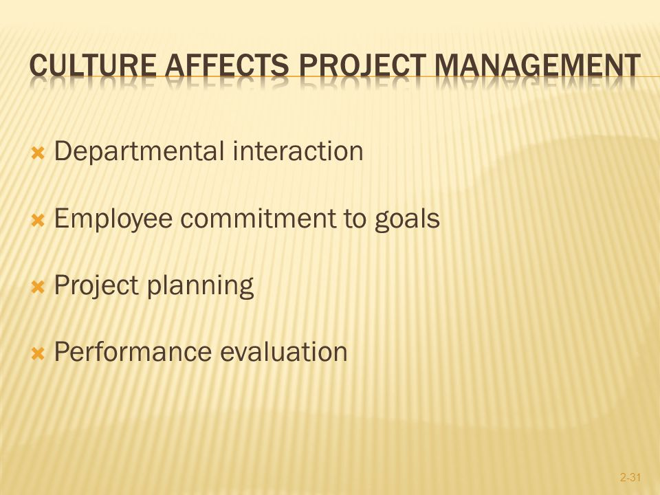how does culture affect management Project management maturity on the processes level customers' opinion is taken into account (project management maturity on the customers' level) project culture intelligence project management methodology implementation is an example of change management.