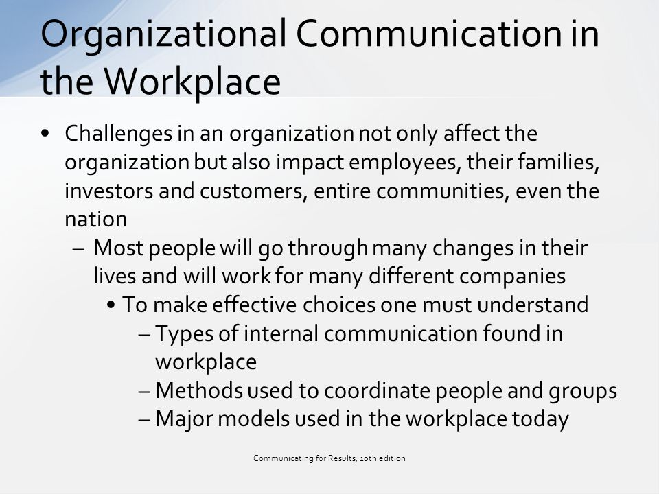 communication at work There are four types of communication: 1 visual communication 2 written communication 3 verbal communication 4 non-verbal communication.