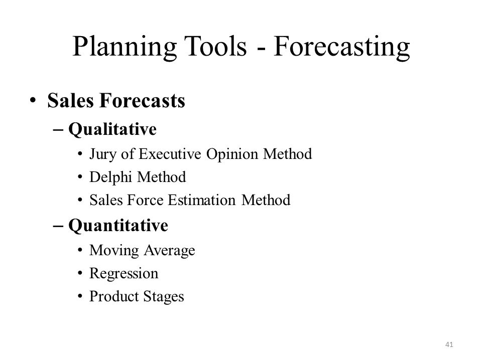 Statistical Methods of Sales Forecasting