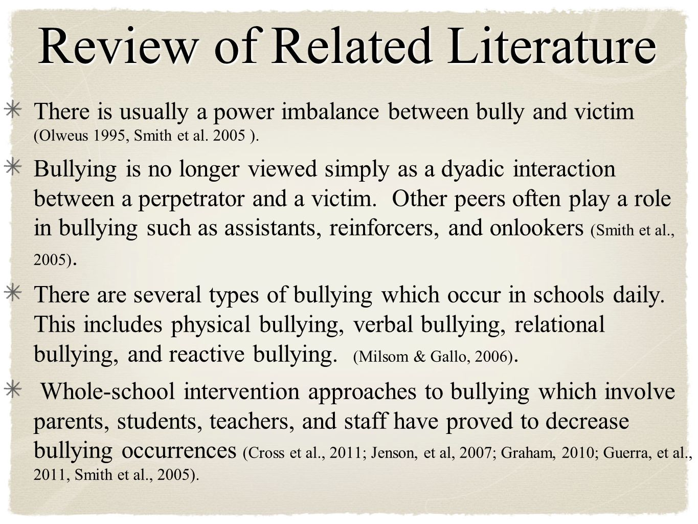 review related literature about bullying Cyberbullying: a literature review  no way a review of literature on student bullying for australian educators was bullying (cyberbullying) related behaviours .