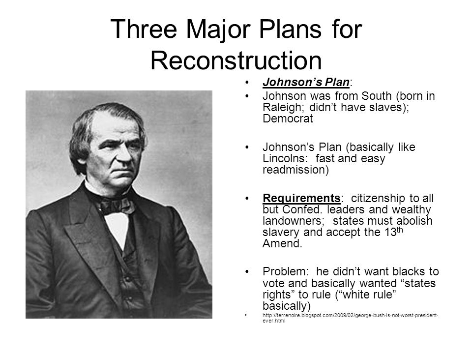 three reconstruction plans Graphic organizer reconstruction plans presidential reconstruction congressional reconstruction according to this plan, what did former confederate states have to do to be.