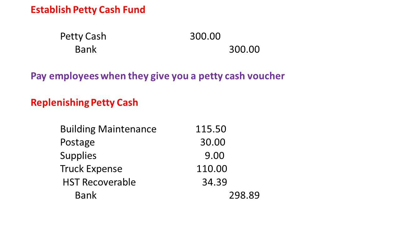 Establish Petty Cash Fund Petty Cash 300. 00 Bank 300  Petty Cash Voucher Definition