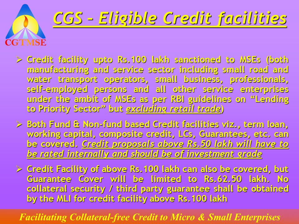 CGS – Eligible Credit facilities