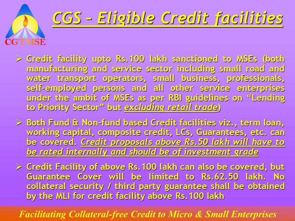 CGS – Eligible Credit facilities