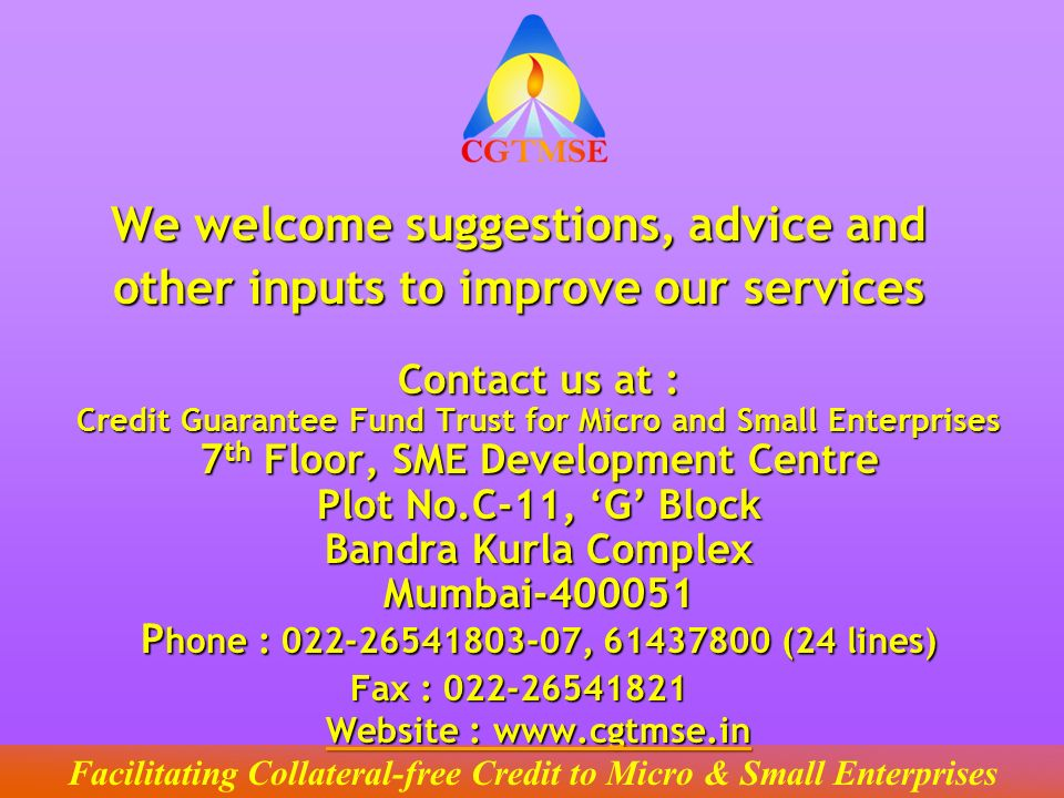 We welcome suggestions, advice and