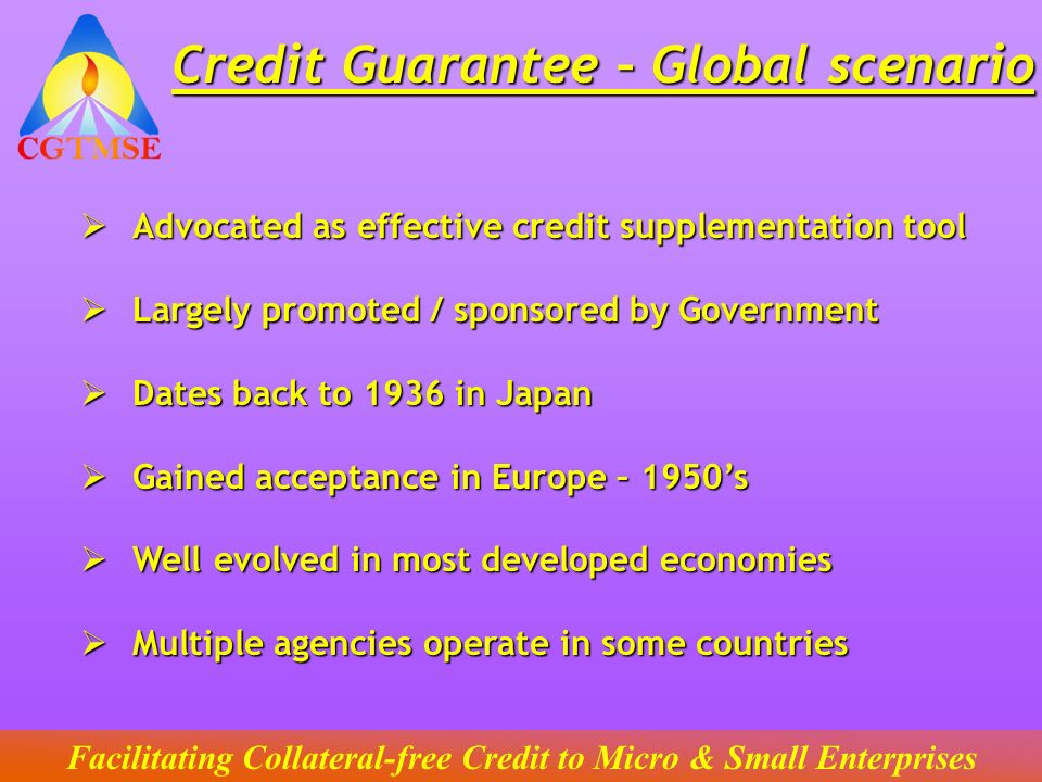 Credit Guarantee – Global scenario