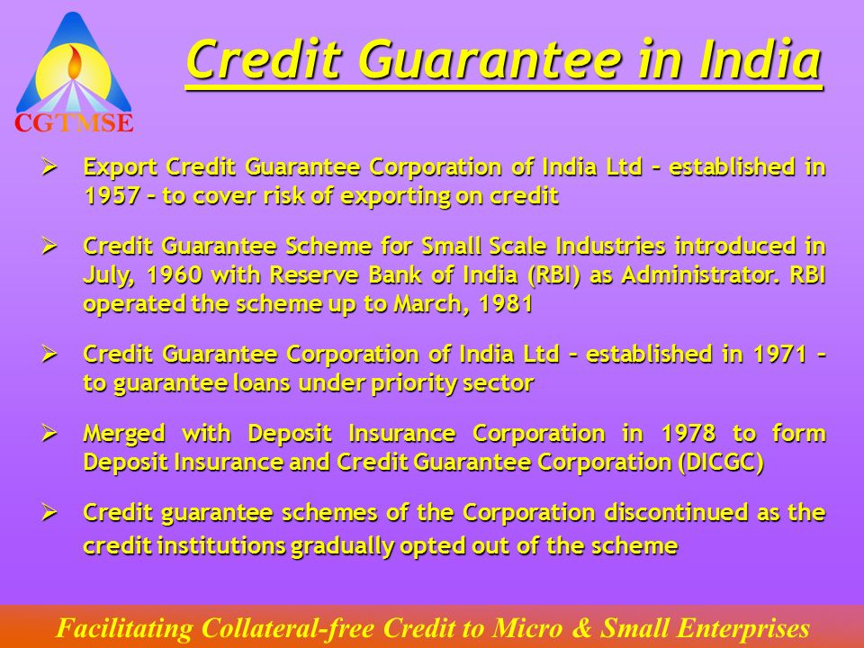 Credit Guarantee in India