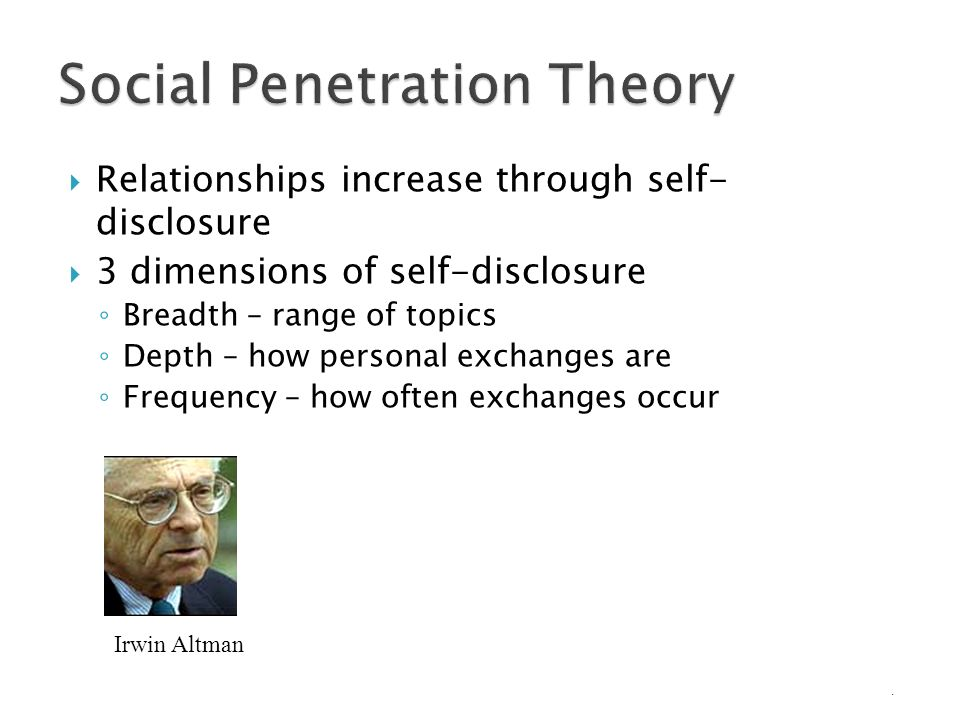 Social penetration theory of psychology have hit