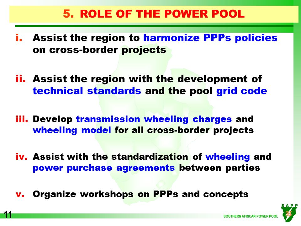 Southern african power pool ppp power projects in southern africa role of the power pool assist the region to harmonize ppps policies on cross border sciox Images