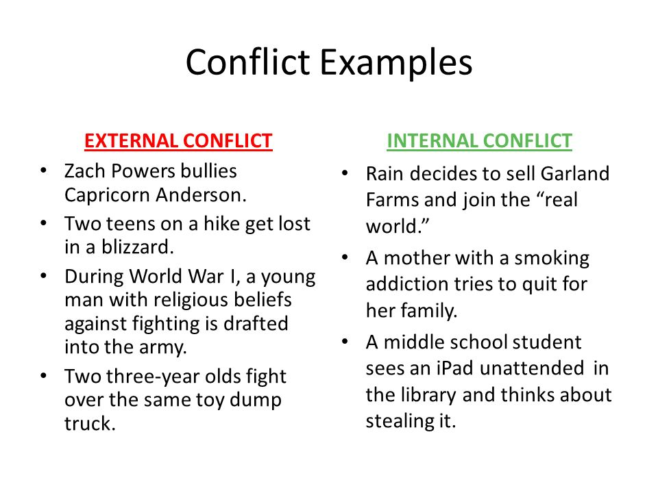 examples of internal and external conflict in literature