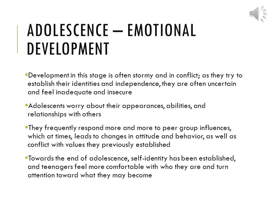 development in adolescence Normal growth and development is how your adolescent grows physically, mentally, emotionally, and socially an adolescent is 10 to 20 years old this time period is divided into 3 stages, including early (10 to 13 years of age), middle (14 to 17 years of age), and late (18 to 20 years of age.