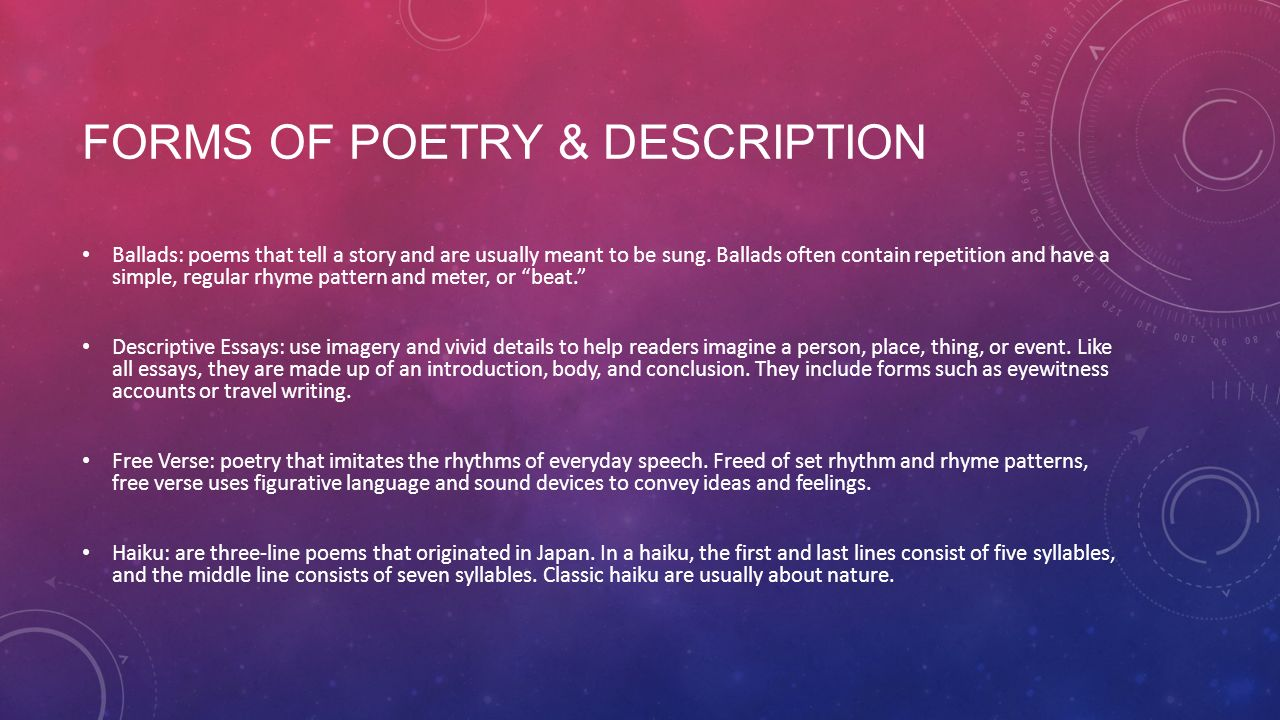 Poetry & Description. - ppt download