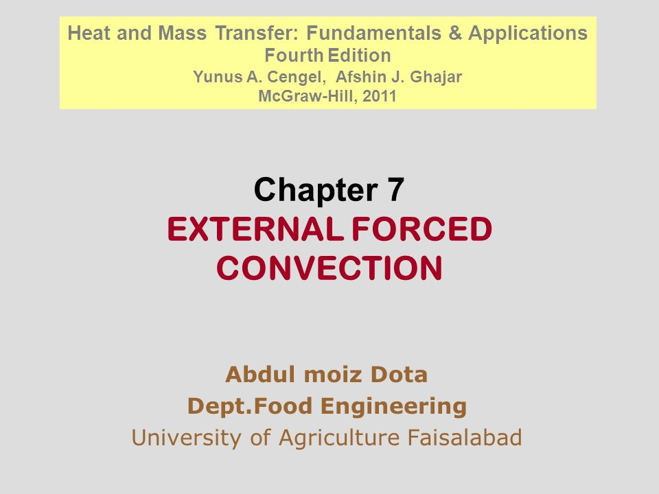 Chapter 7 EXTERNAL FORCED CONVECTION