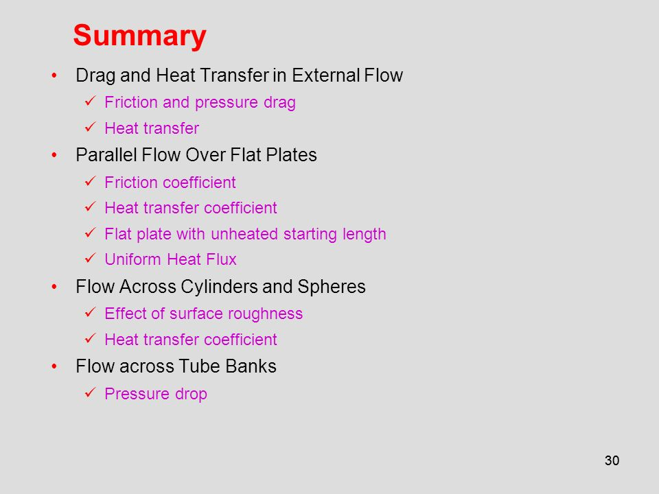 Summary Drag and Heat Transfer in External Flow