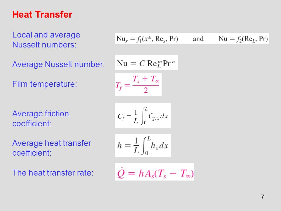 Heat Transfer Local and average Nusselt numbers: