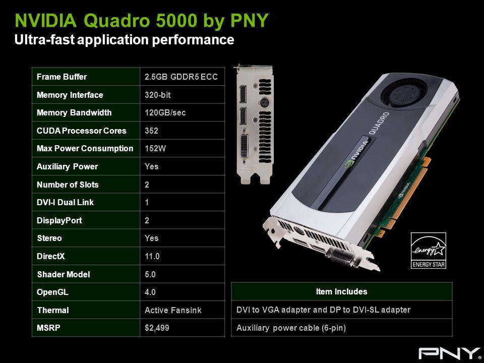 NVIDIA Quadro 5000 by PNY Ultra-fast application performance