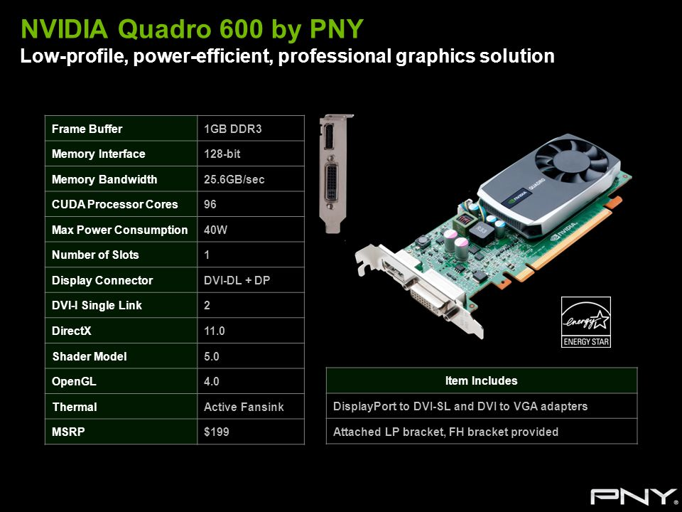 NVIDIA Quadro 600 by PNY Low-profile, power-efficient, professional graphics solution