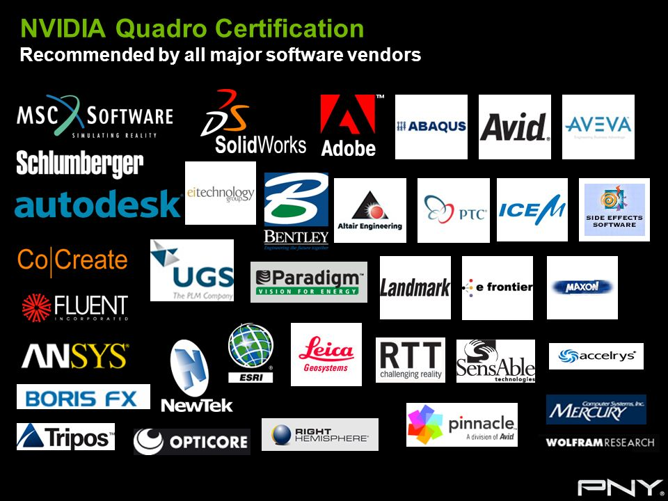 NVIDIA Quadro Certification Recommended by all major software vendors