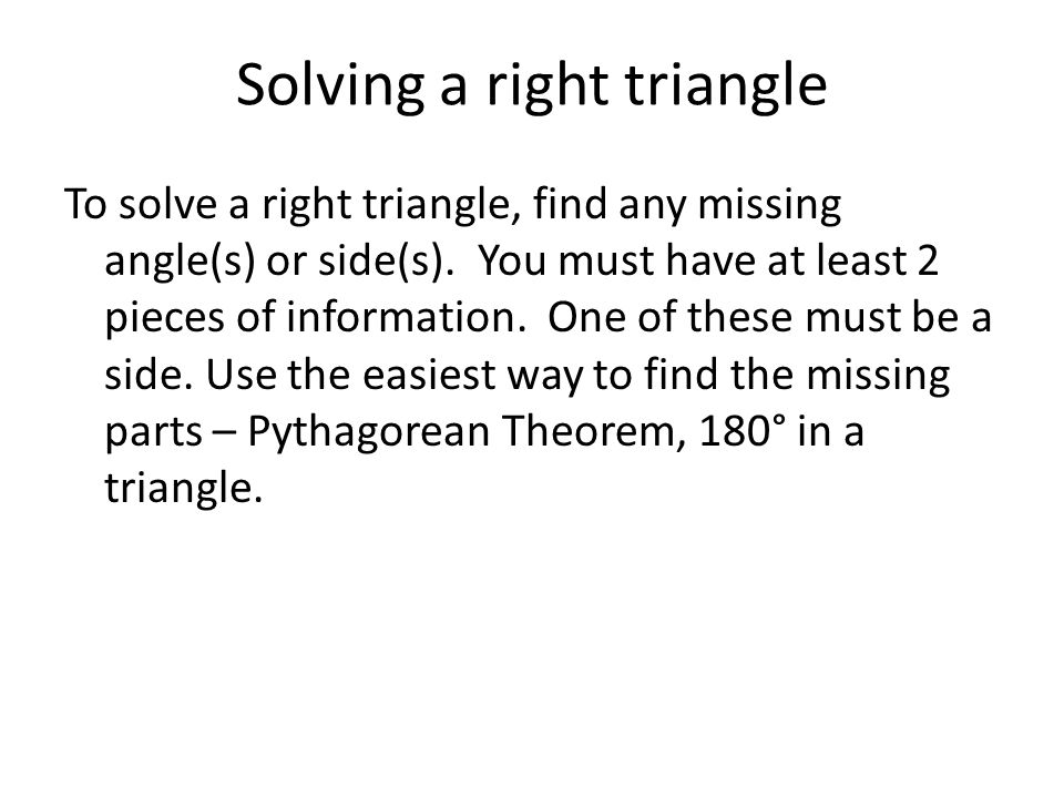 how to find missing side right angle triangle