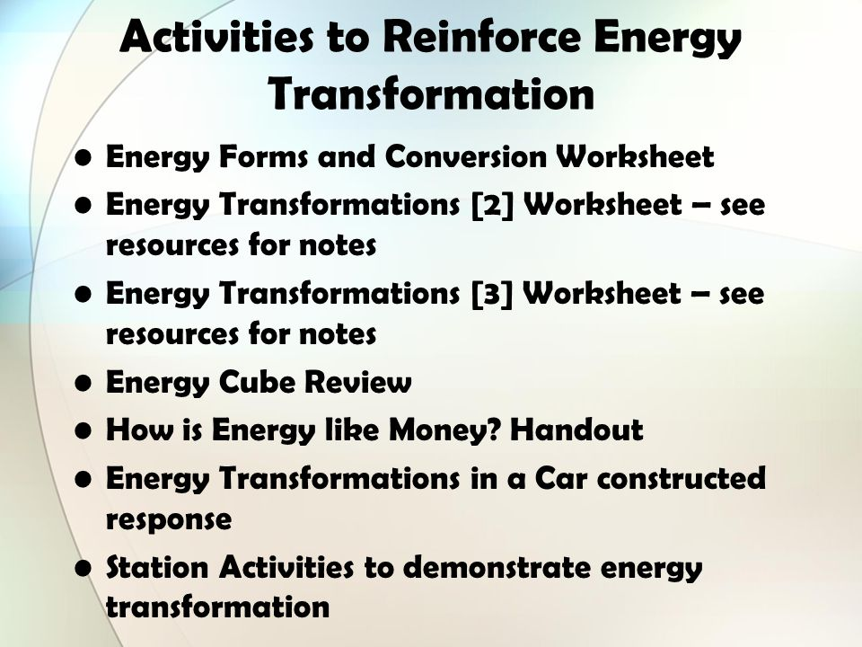Identify all the forms of energy you see in the picture below – Energy Transformation Worksheet Answers