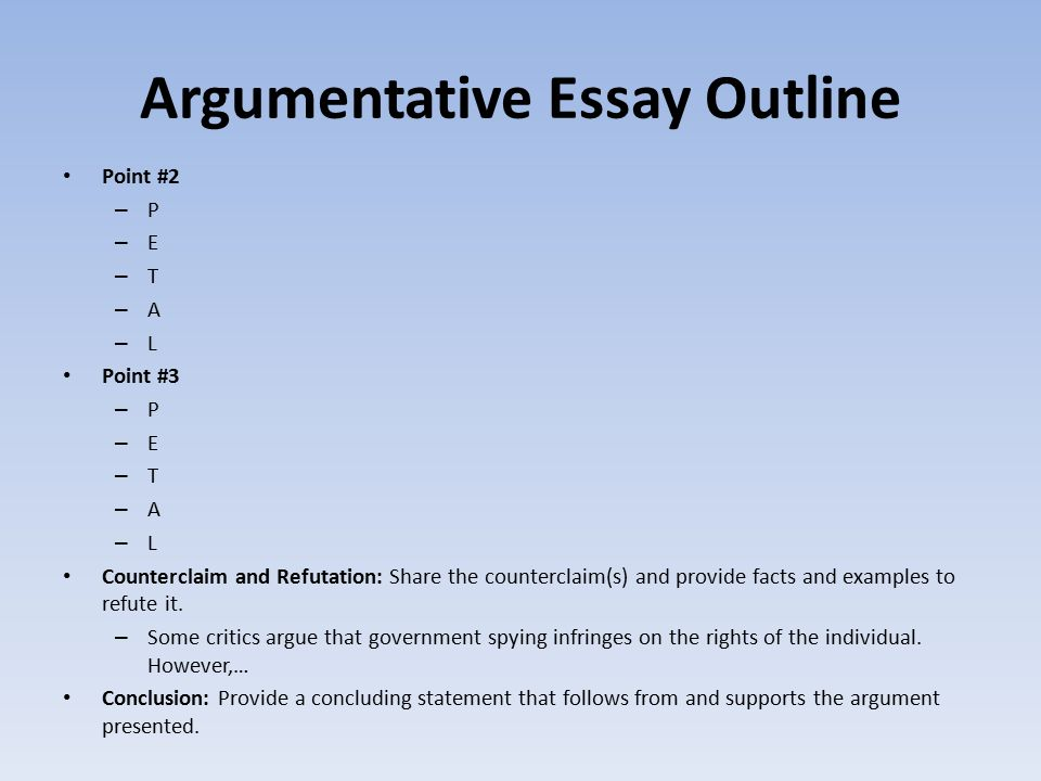 argumentative essay outline refutation Putting together an argumentative essay outline is the perfect way to get  intro  developing your argument refuting opponents' arguments.
