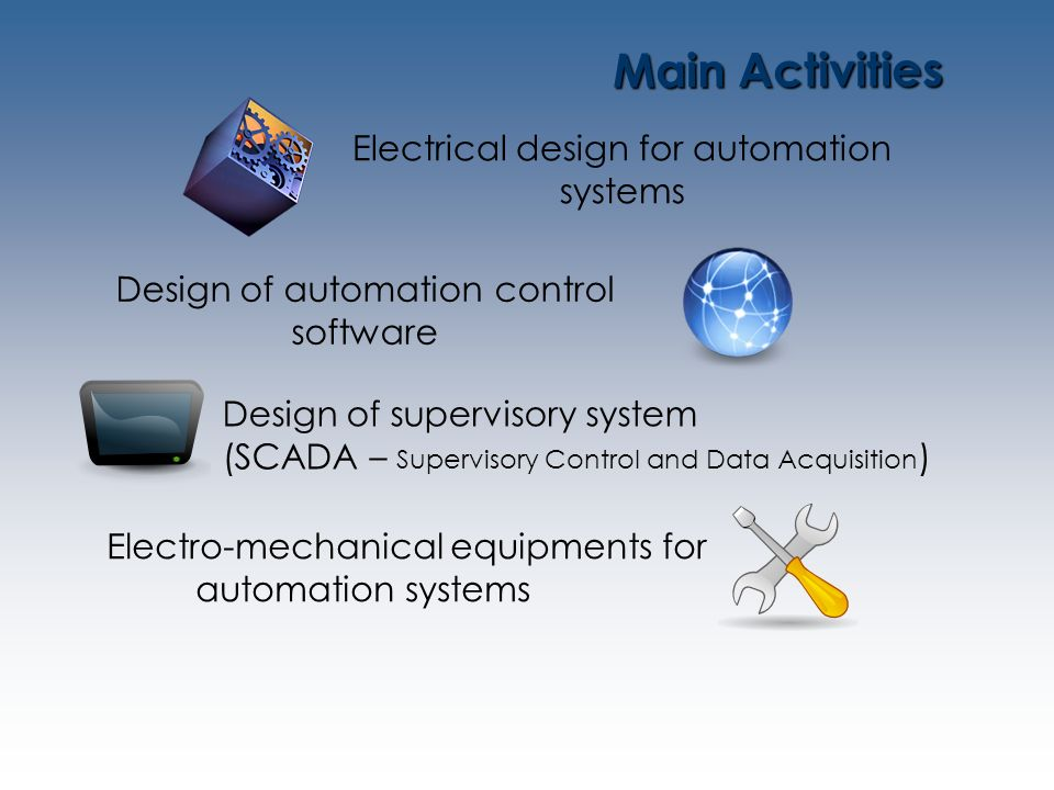Main Activities Electrical design for automation systems