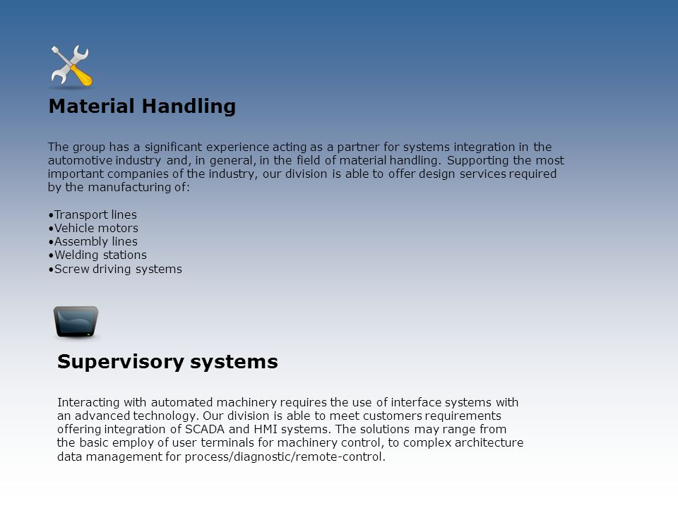 Material Handling Supervisory systems