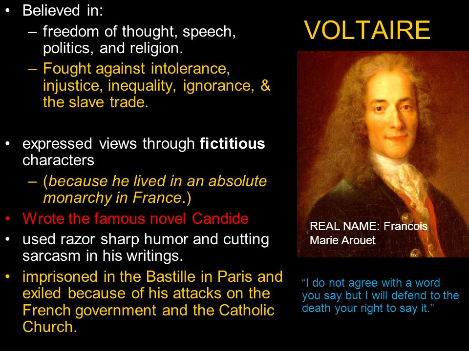 religion politics and morals in voltaires candide Candide by voltaire - full audiobook   greatest audio books candide, ou l'optimisme is a french satire first published in 1759 by voltaire, a philosopher of the age of enlightenment the novella.