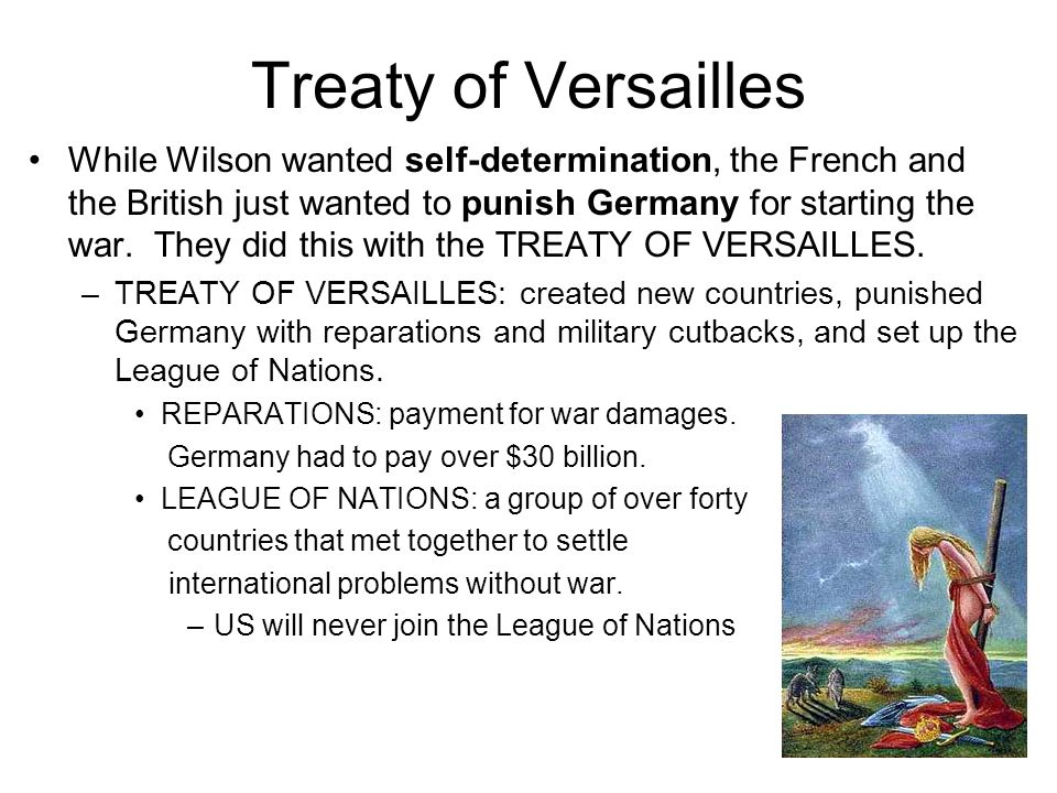 the oppositions in the creation of the treaty of versailles The terms of the treaty of versailles were announced in june 1919 the german politicians were not consulted about the terms of the treaty they were shown the draft terms in may 1919 they complained bitterly, but the allies did not take any notice of their complaints germany had very little.