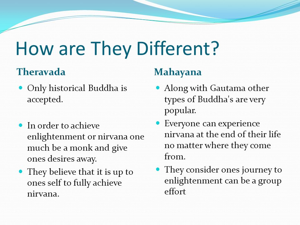 mahayana vs theravada Theravada vs mahayana theme 1: rituals theravada festivals: one important festival in theravada is wesak, which celebrates the life, enlightenment and death of the buddha.