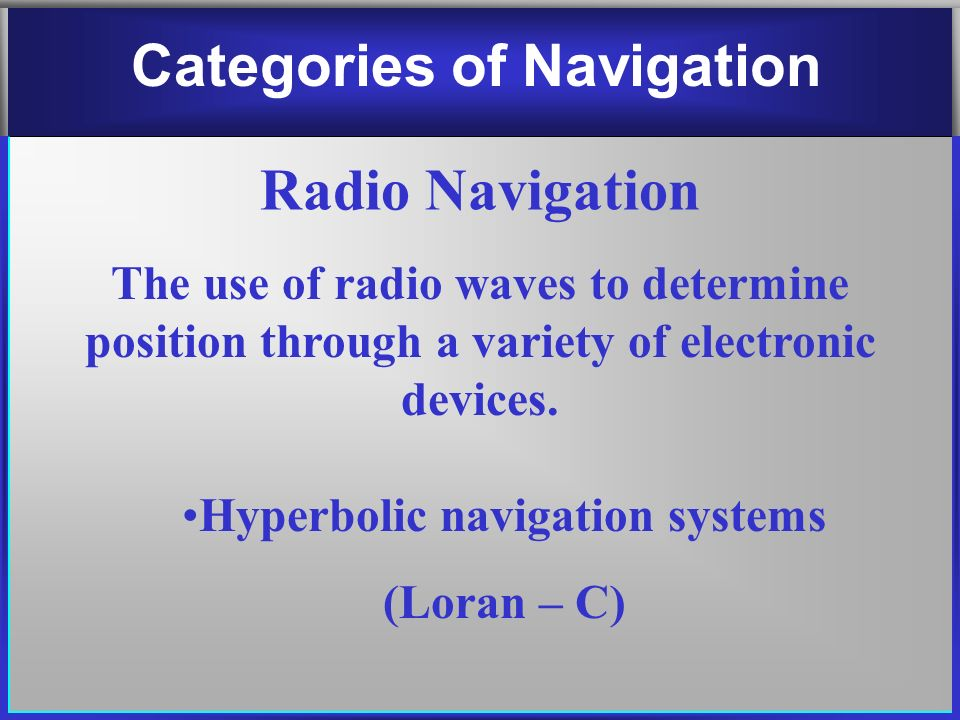 hyperbolic navigation Investigating hyperbolic navigation-loran after the second world war, the need for a long range navigation system was addressed with the development of loran.