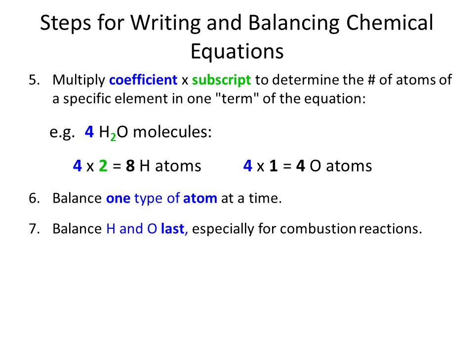 Writing a balanced chemical equation