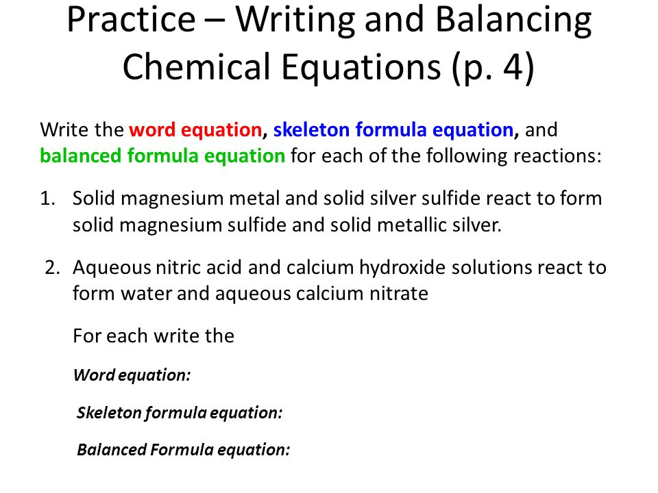 writing chemical equations ppt