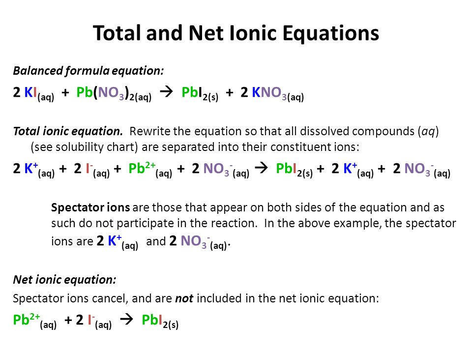 Writing A Balanced Ionic Equation