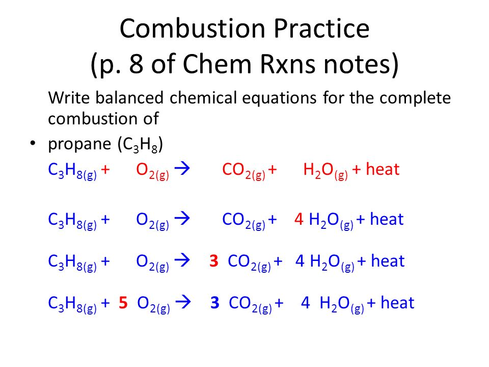 write a balanced equation The balanced equation for the combustion of methane (ch4) is ch4 + 2o2 -- co2 + 2h2o the equation is balanced because the number of atoms for every element is the.