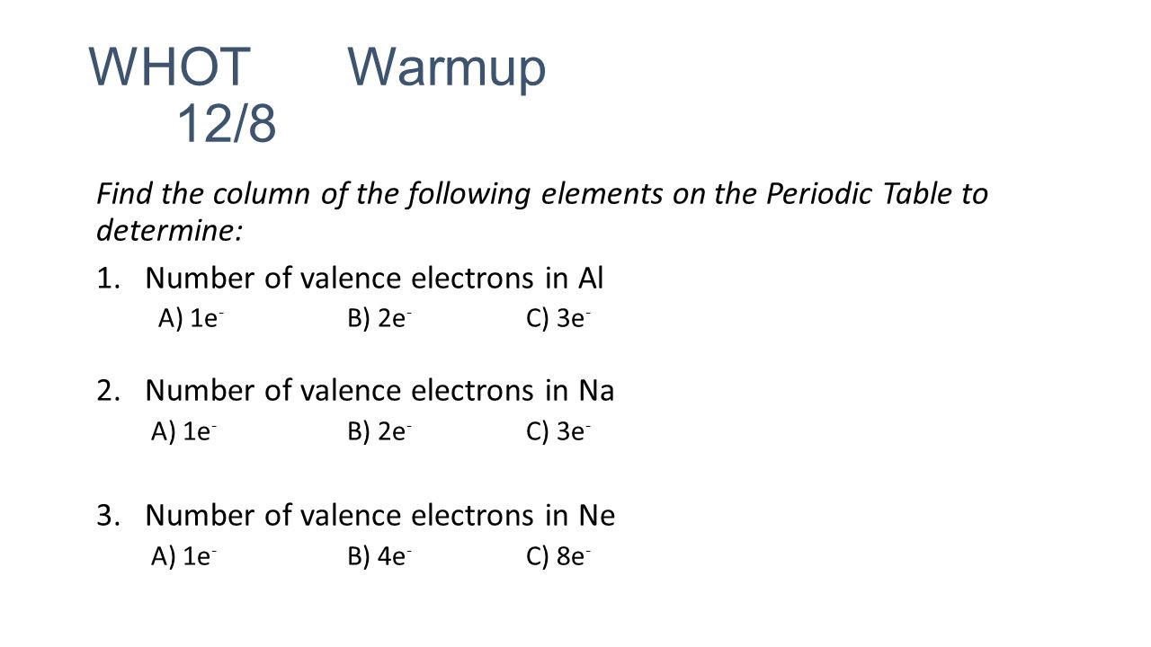 Whot 127 describe how you arranged your periodic table rows whot warmup 128 find the column of the following elements on the periodic table gamestrikefo Image collections