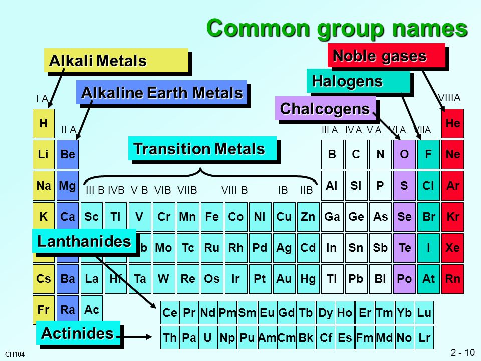 Common group names Noble gases Alkali Metals Halogens