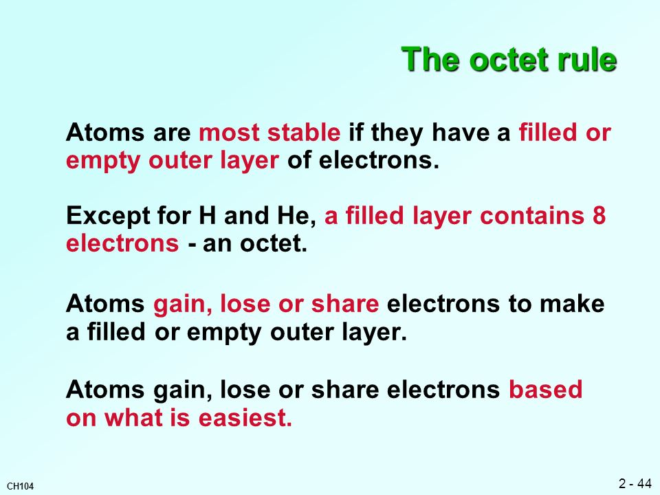 The octet rule Atoms are most stable if they have a filled or empty outer layer of electrons.