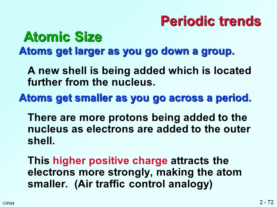 Periodic trends Atomic Size Atoms get larger as you go down a group.