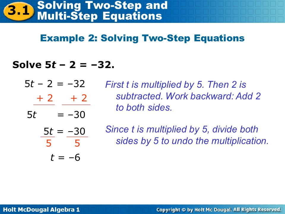Example 2: Solving Two-Step Equations