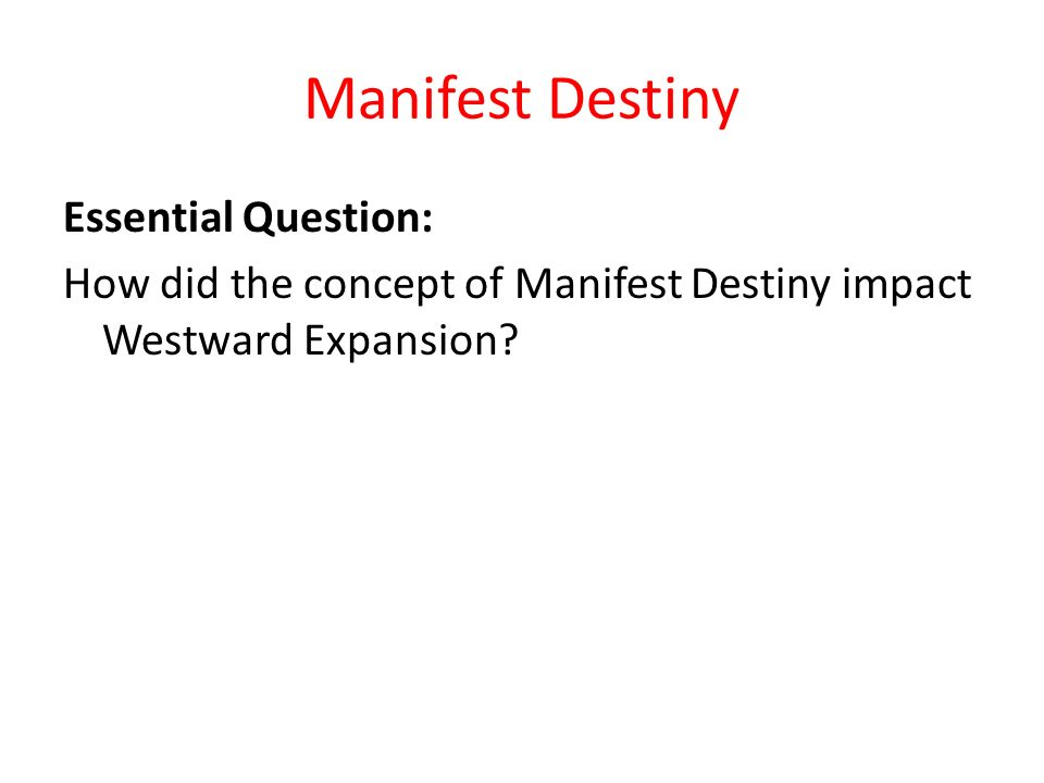 an analysis of the concept of manifest destiny Use this studycom lesson plan to introduce the concept of manifest destiny read about the background, learn about key figures, and examine.