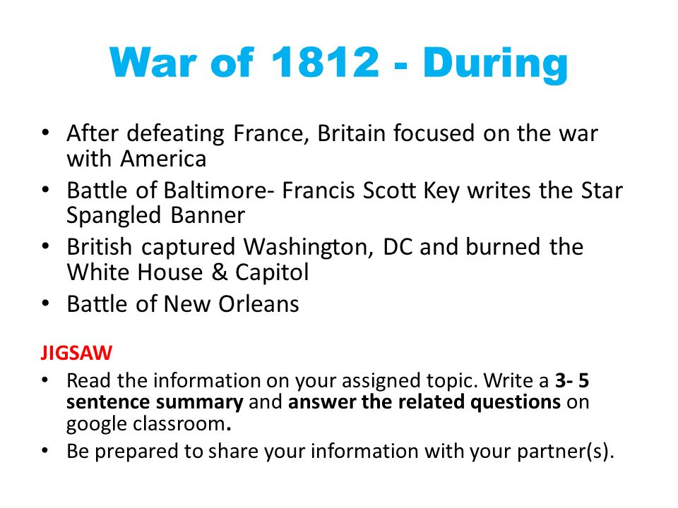 war of 1812 summary essay Burning of washington part of the war of 1812 battle of bladensburg: following their victory at the battle of bladensburg, the british invaded washington dc and burned many us government and military buildings.