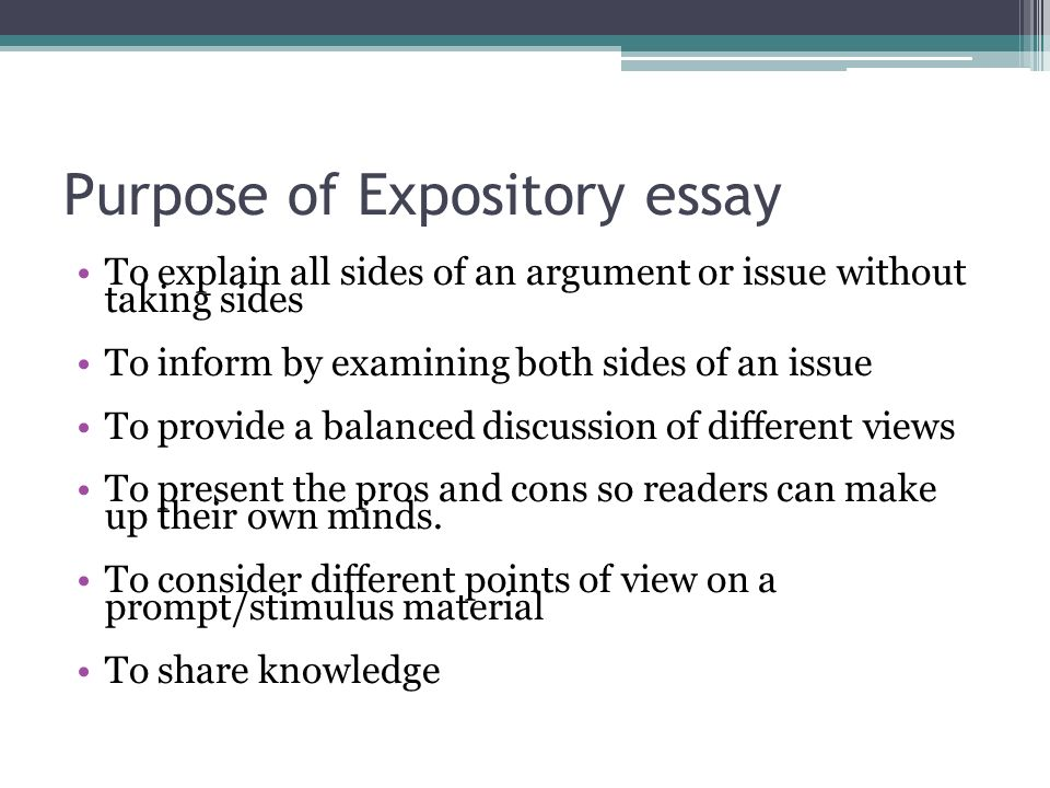 What is the putpose of an essay