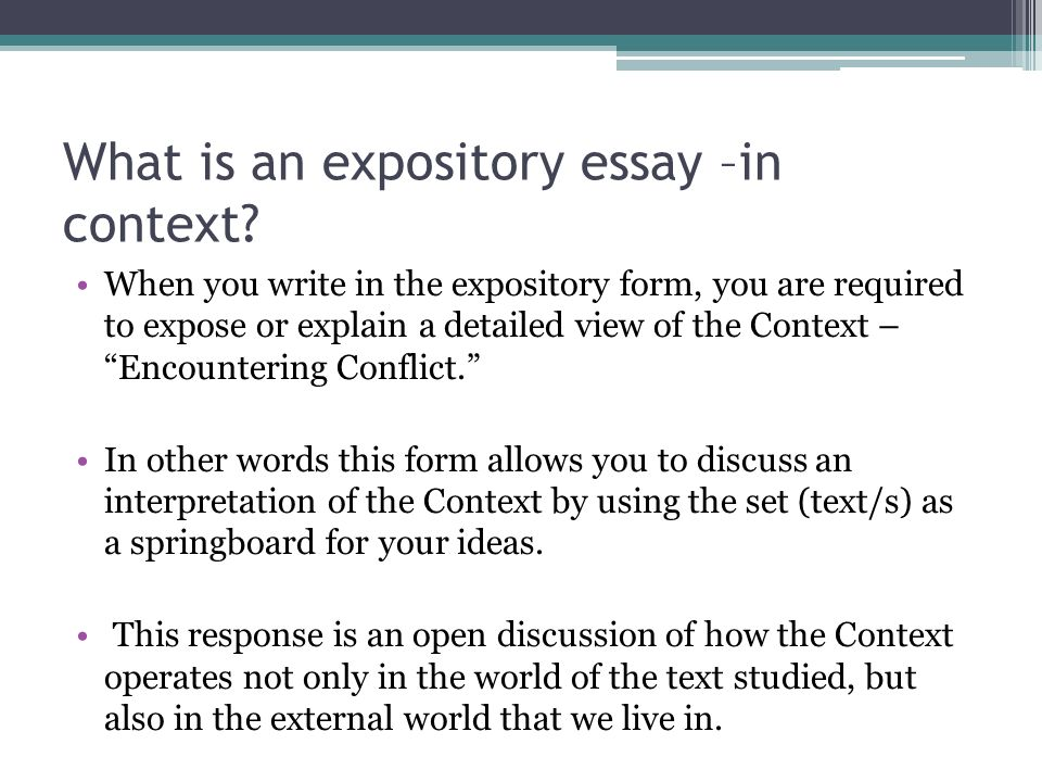 powerpoint on expository essay Using a chunking method, including a step between brainstorming and writing called piling, students are able to build up to writing expository essays handout: expository essay promptpdf teacher commentarypdf video license add this to my workspace in lesson planner.