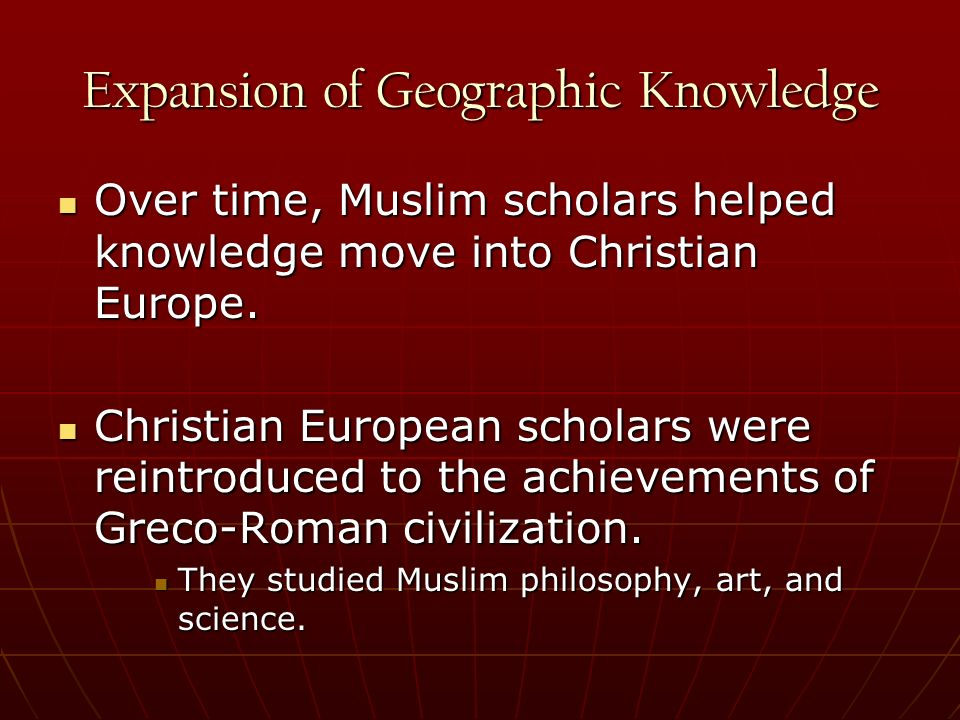 Expansion of Geographic Knowledge
