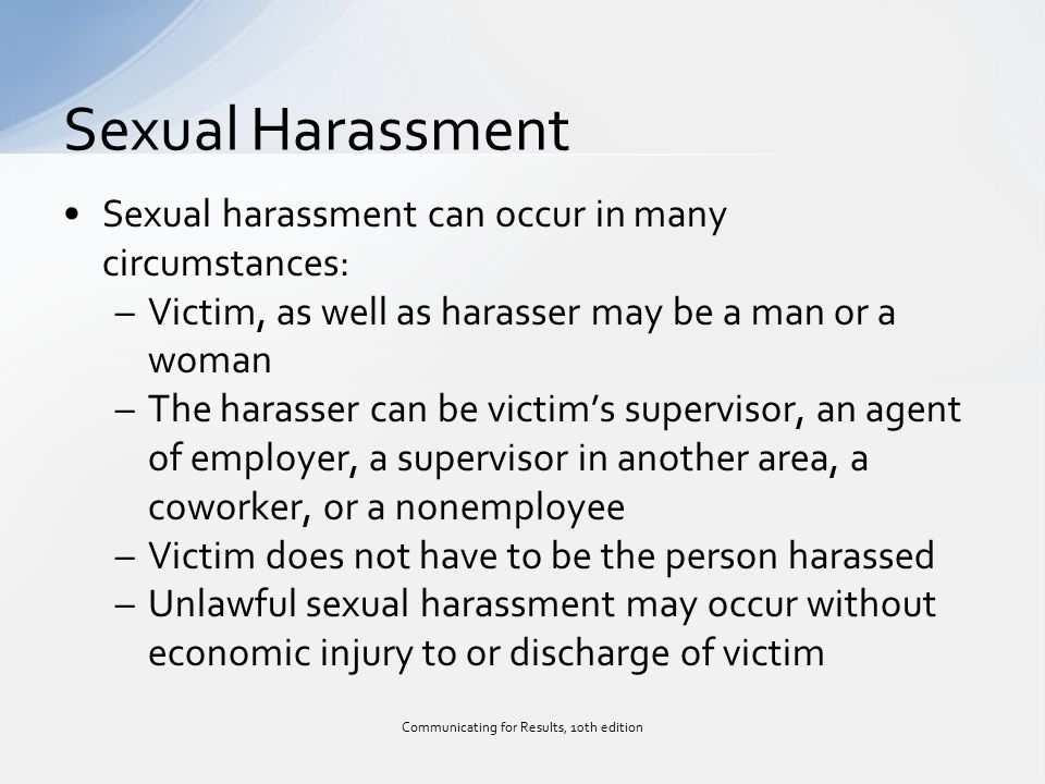 How sexual harassment can be directed towards men